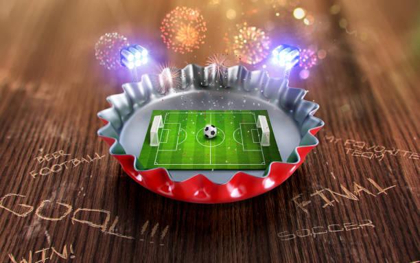 fußball-europameisterschaft in der roten mütze bier. 3d render - fußball poster stock-fotos und bilder