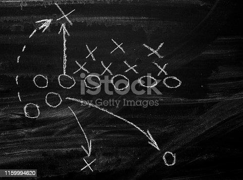 Football chart on blackboard