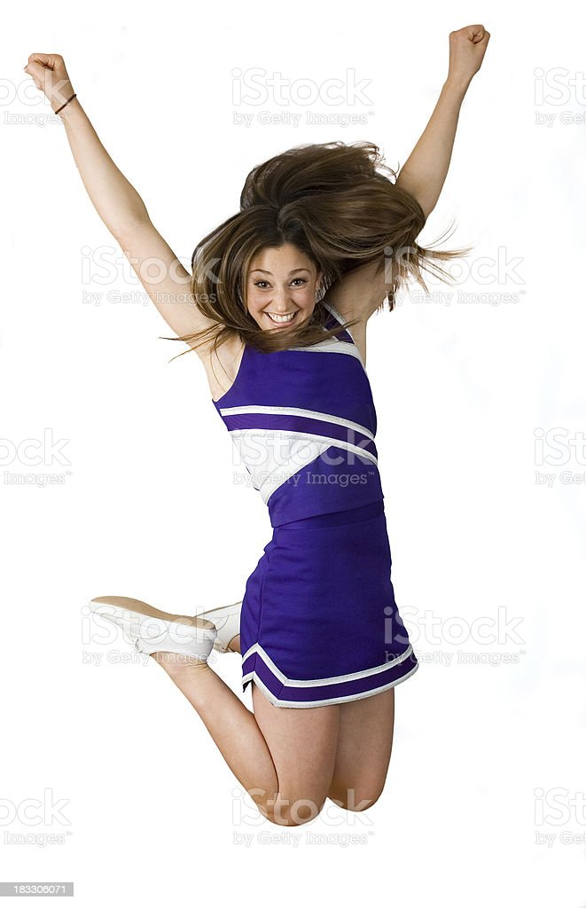 Football Cheerleader Jumping, Isolated On White royalty-free stock photo