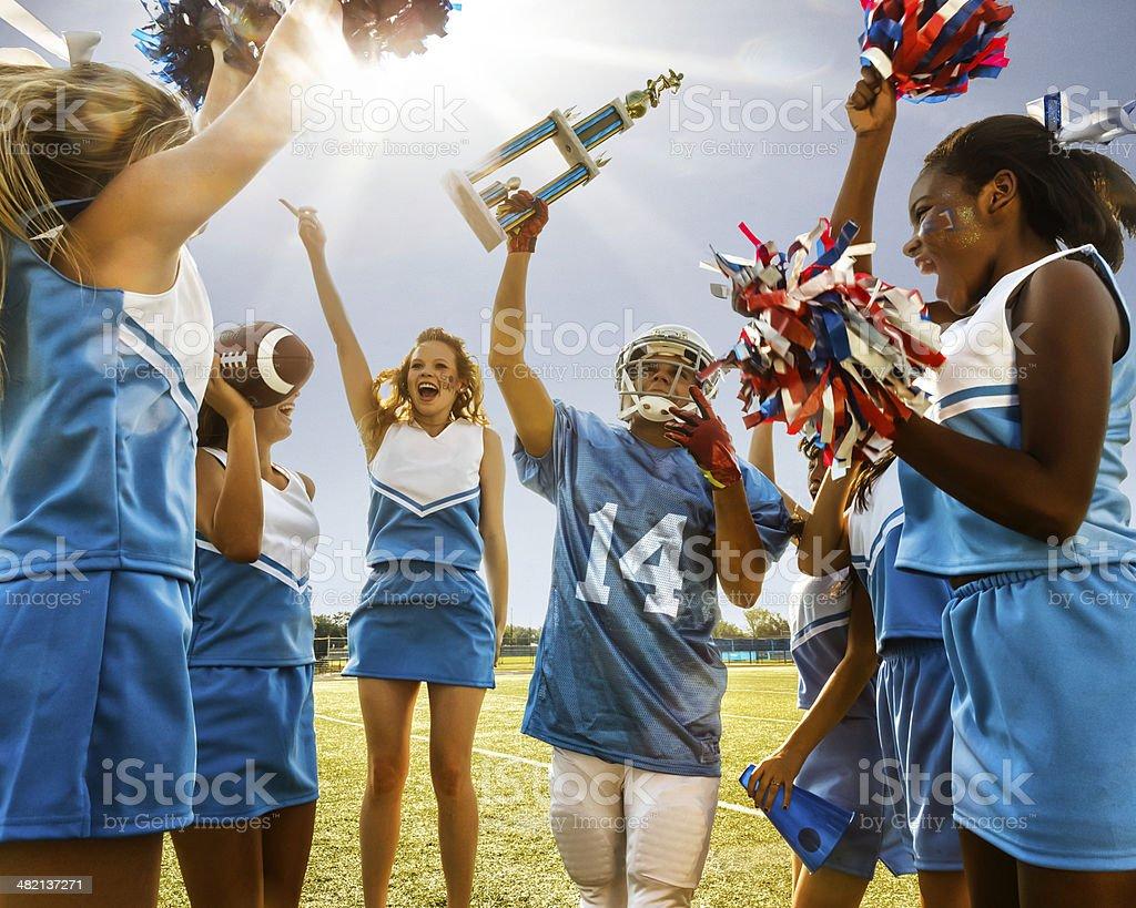Football Cheerleaders & Player stock photo