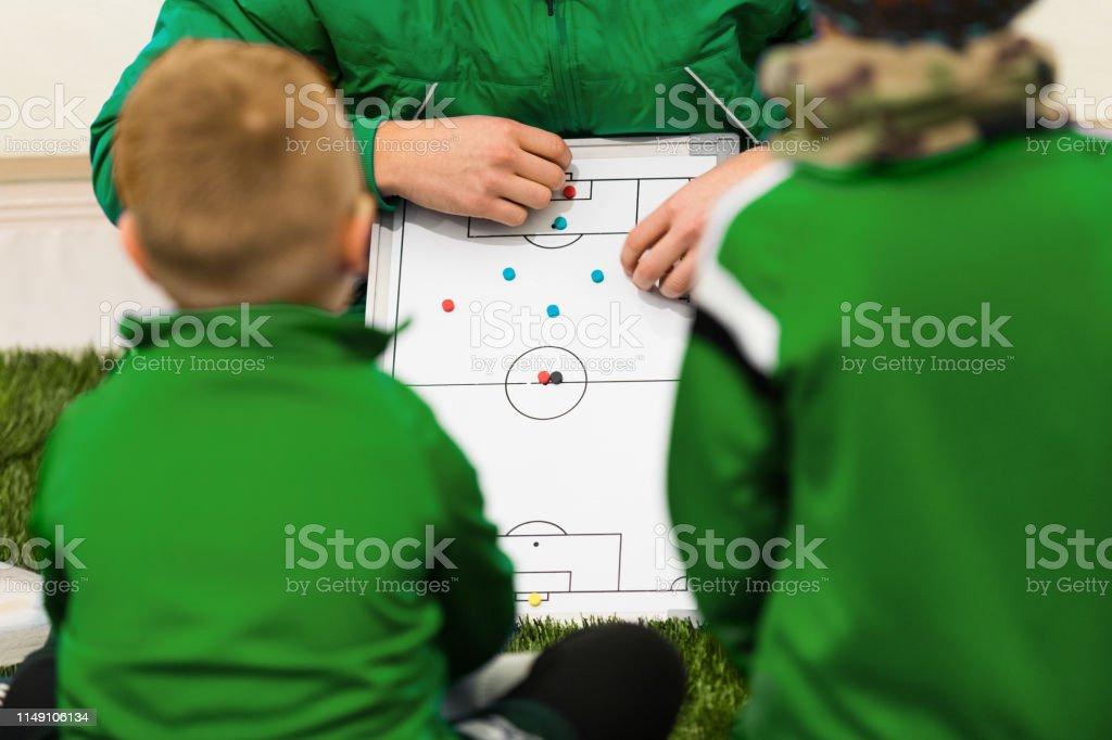 Foto De Treinador De Futebol Kids Coaching Jogadores De