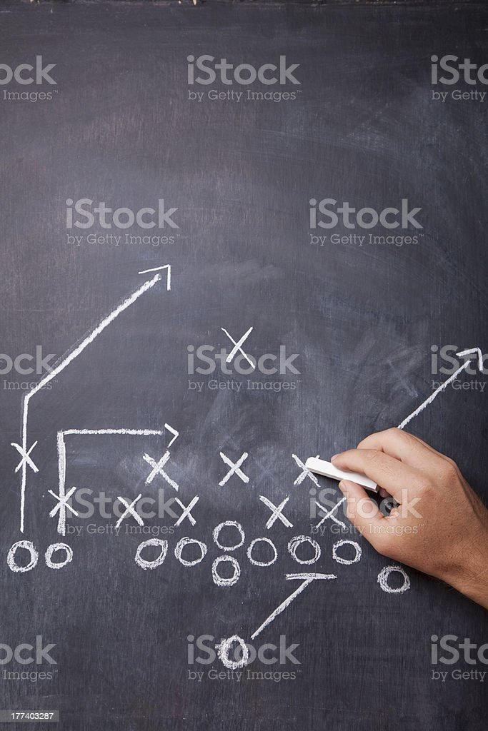 Football Coach Draws Play stock photo
