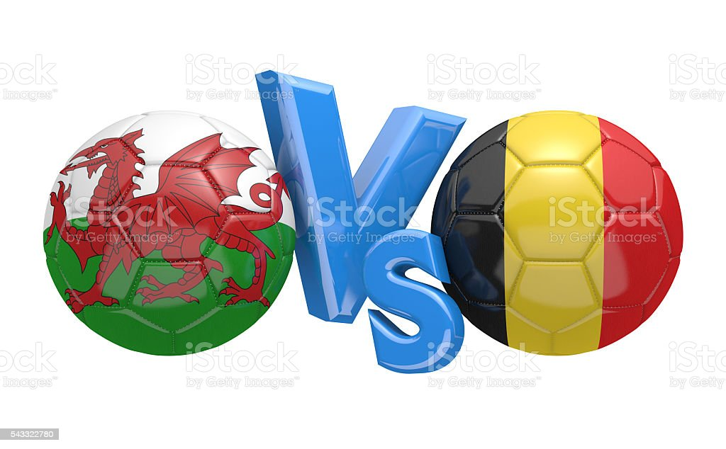 Football competition between national teams Wales and Belgium, 3D rendering stock photo