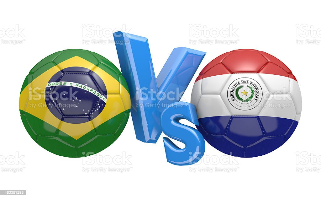 Competición de fútbol de Brasil, Paraguay de los equipos nacionales de la vs - foto de stock