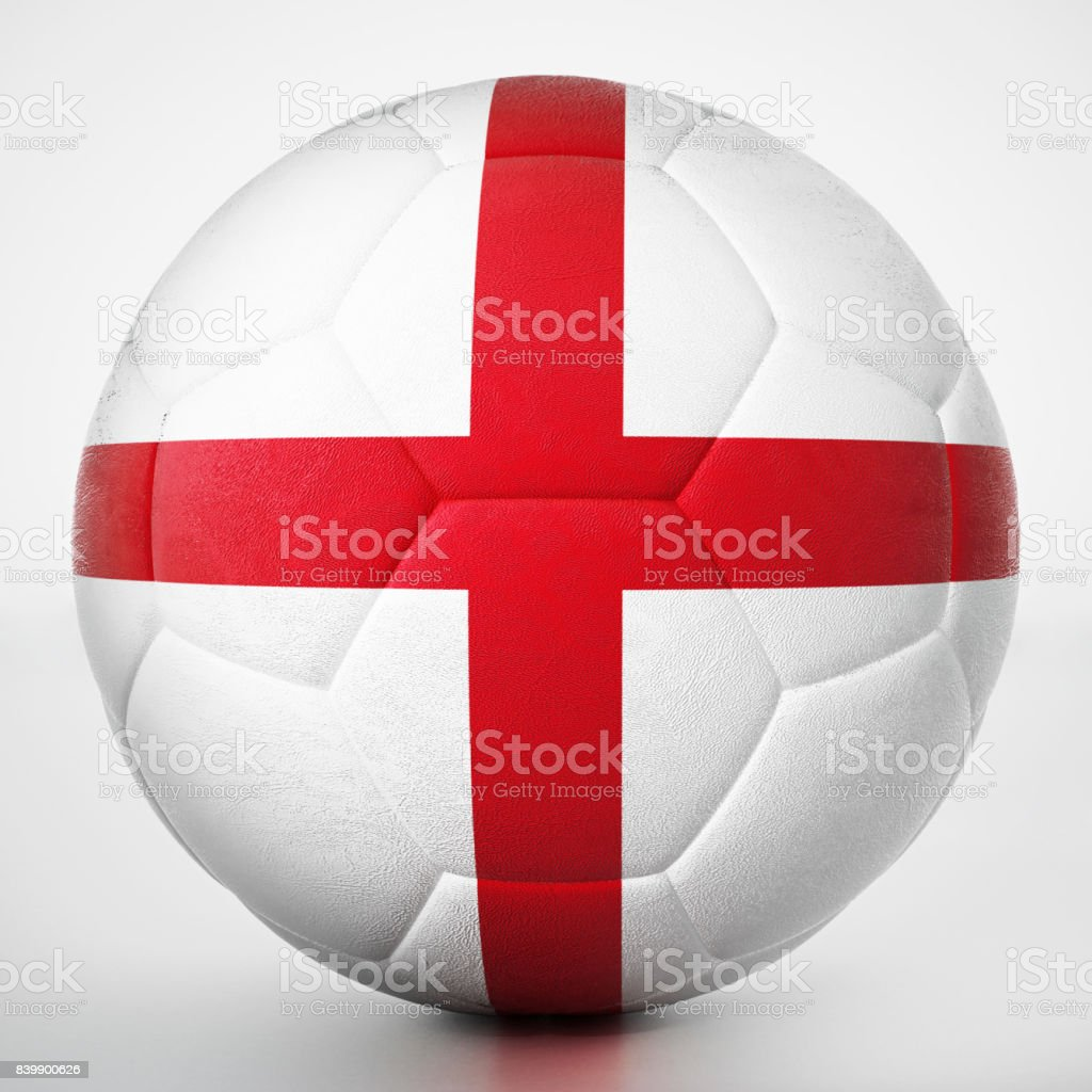 Football covered with flag of England stock photo