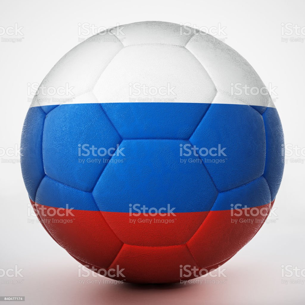 Football covered with flag of Russia стоковое фото