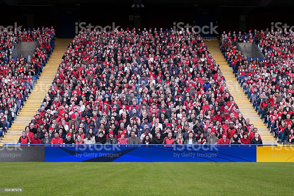 Football crowd in stadium stock photo