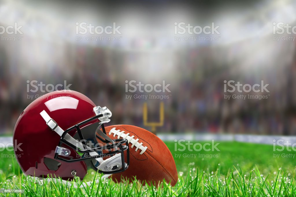 Football Equipment on Grass With Copy Space stock photo