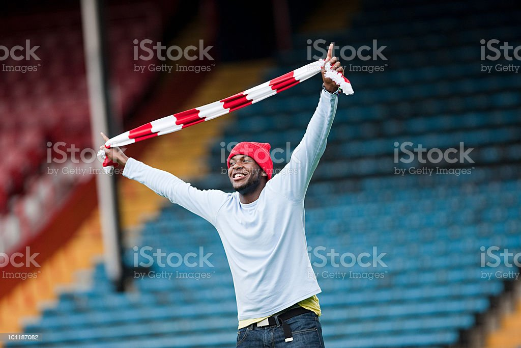 Football fan with scarf stock photo