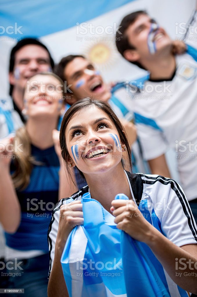 Football fans cheering for Argentina stock photo