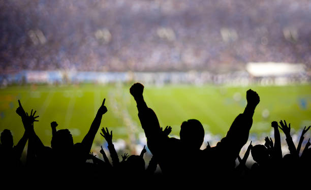 Football Fans Excited American football fans excited at a game. win stock pictures, royalty-free photos & images