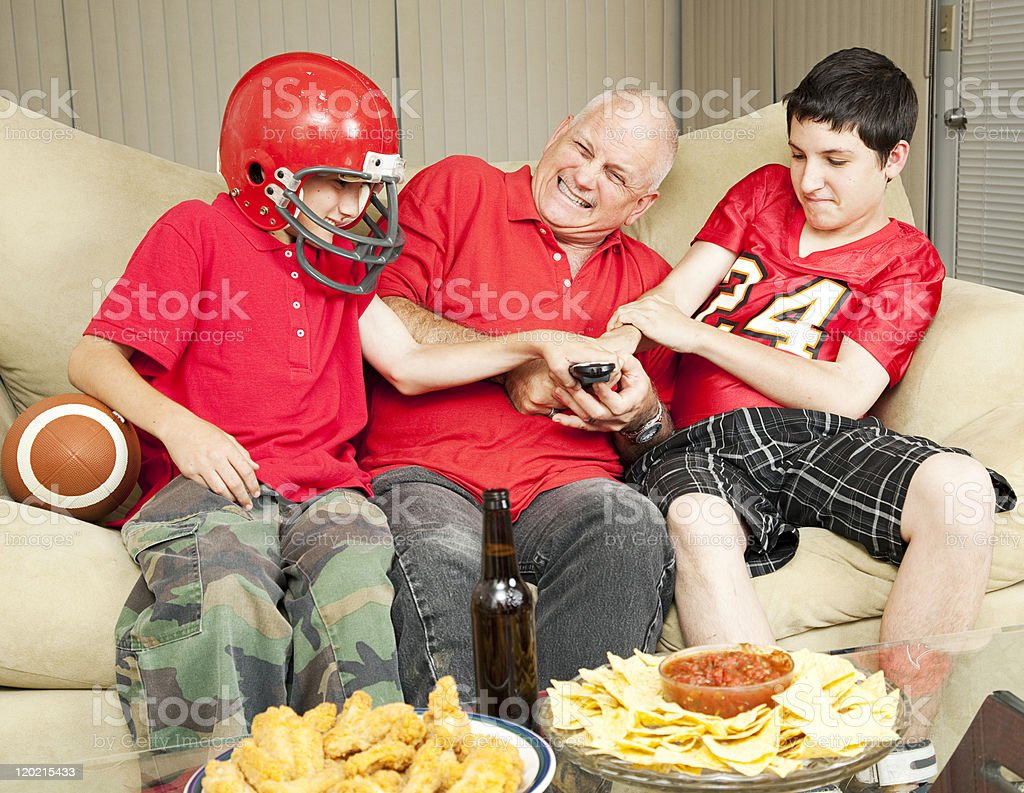 Football Fans Fight for Remote royalty-free stock photo