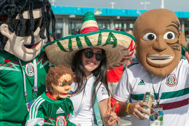 football fans of mexico in russia - group d stock photos and pictures