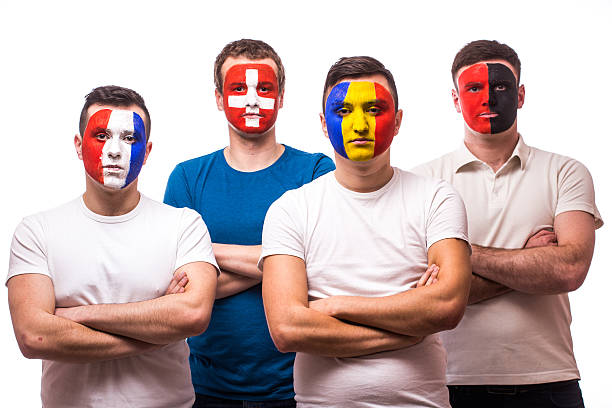 football fans of their national team with crossed hands stock photo