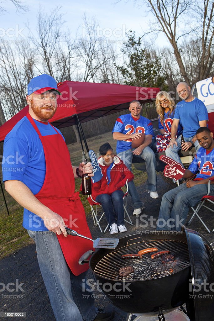 Football fans tailgating stock photo