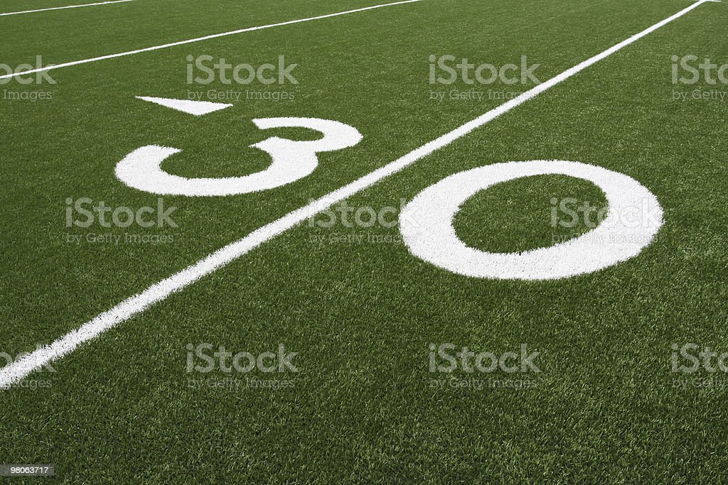 Football Field 30 Yard Line royalty-free stock photo