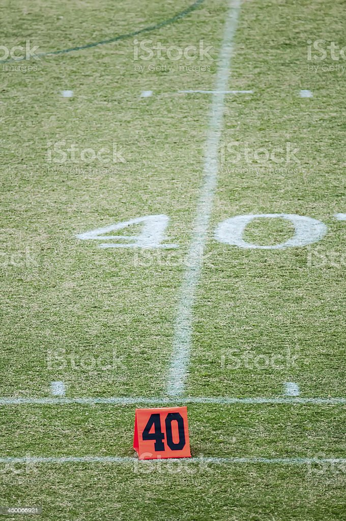 football field 40 twenty yard line marker royalty-free stock photo