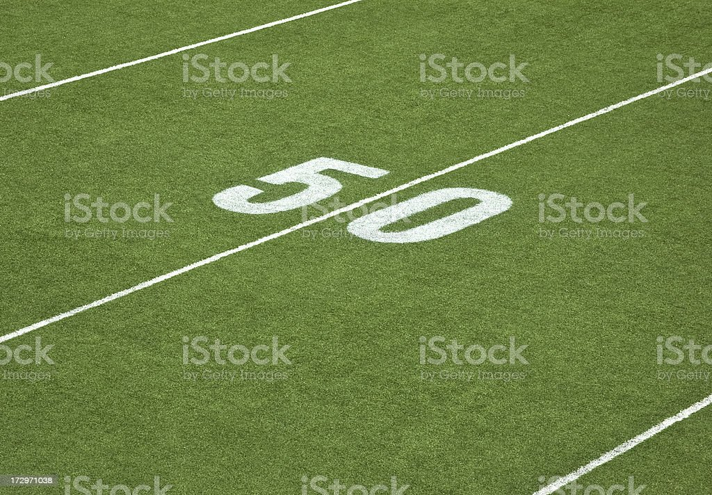 Football field - 50 Yard Line royalty-free stock photo