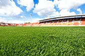 football field  ball on green grass , soccer field  background texture