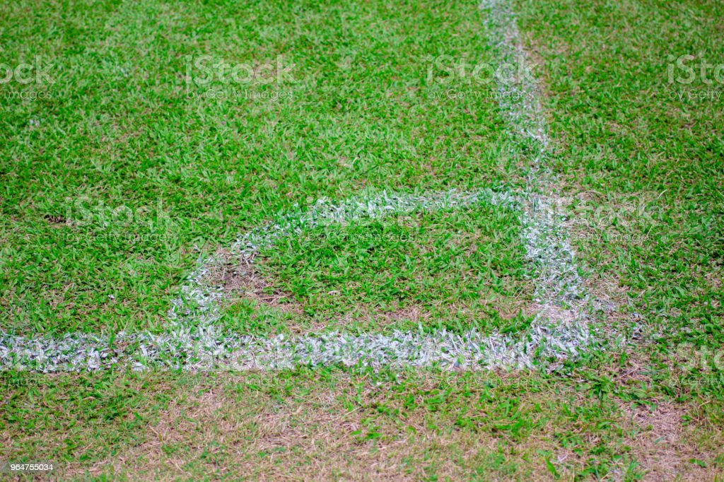 Football field corner with white marks royalty-free stock photo