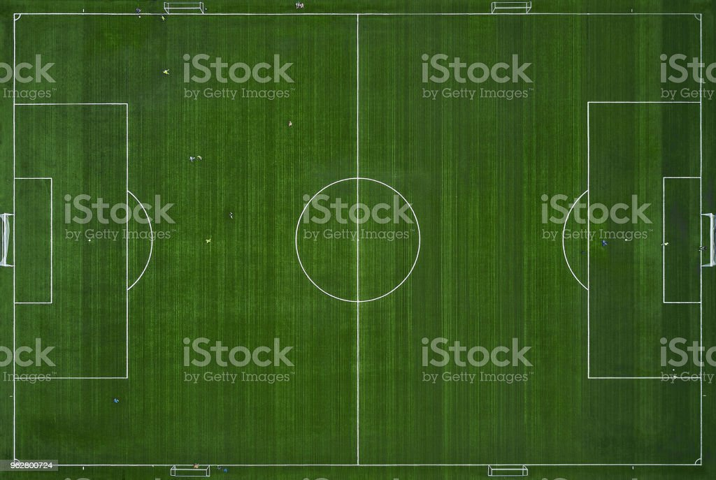 Football field from above. training field, Aerial view. soccer team...