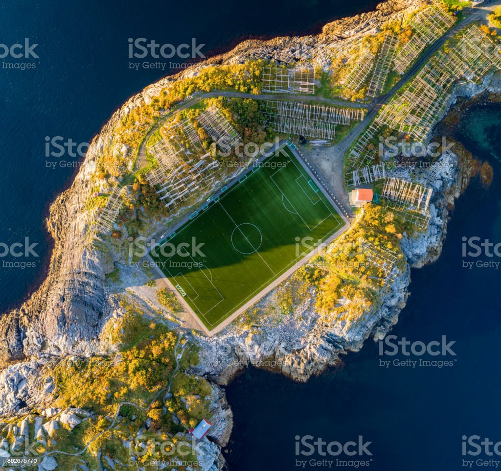 Football field in Henningsvaer from above stock photo