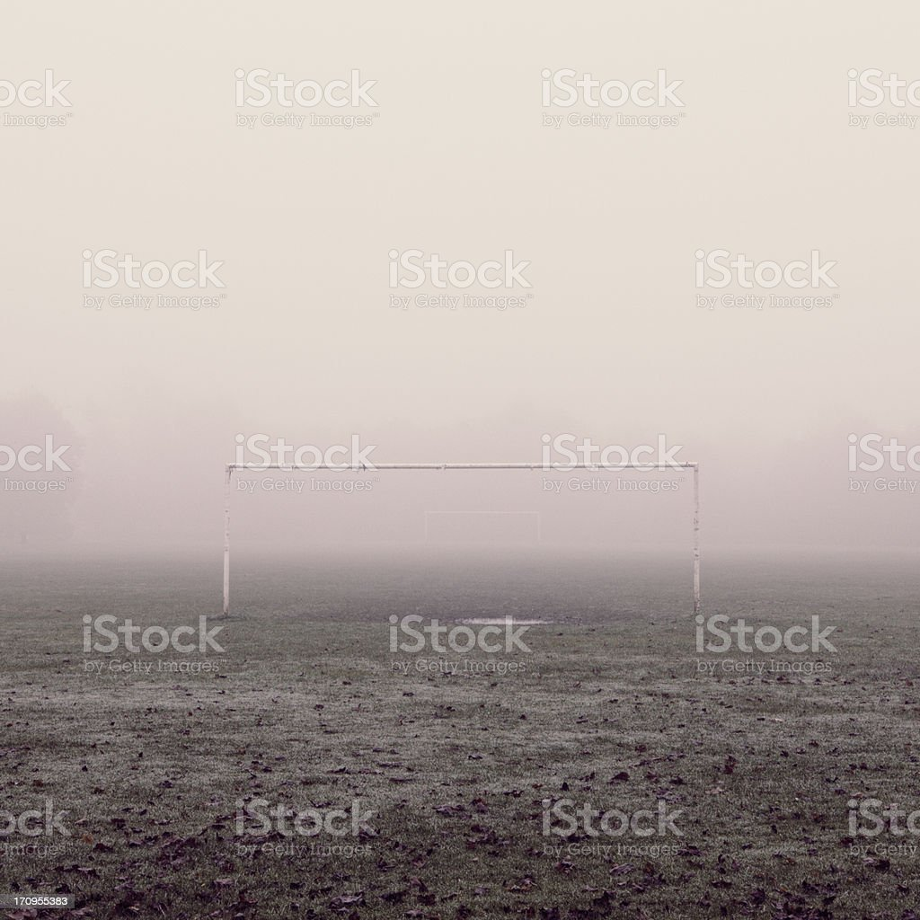 Football Field In The Fog stock photo