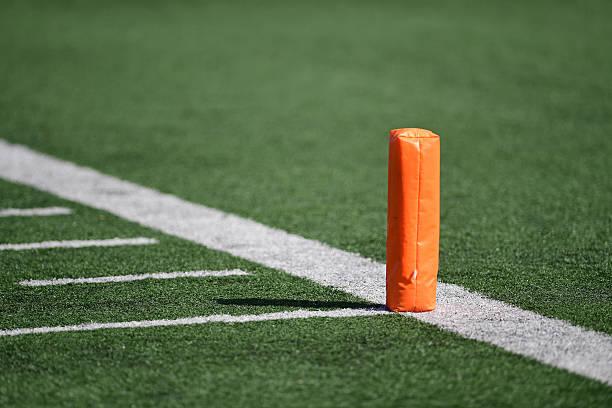 Football field pylon stock photo