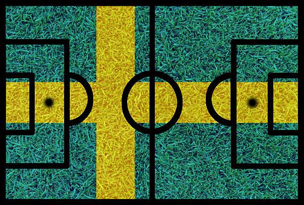 fußball feld strukturierte von schweden nationalflaggen auf euro 2016 - fußball poster stock-fotos und bilder
