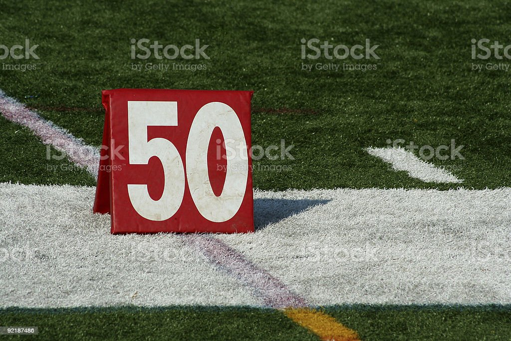 Football fifty yard marker stock photo
