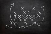 istock Football game plan on blackboard with white chalk 171357743
