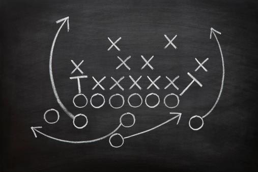 Football game plan on blackboard with white chalk