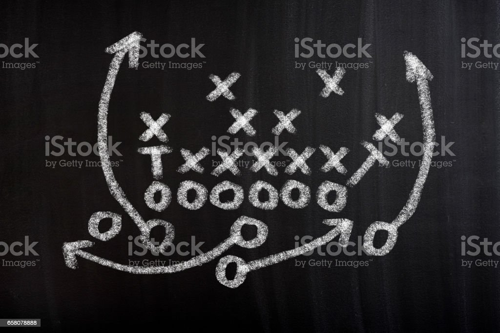 Football game plan on blackboard with white chalk royalty-free stock photo