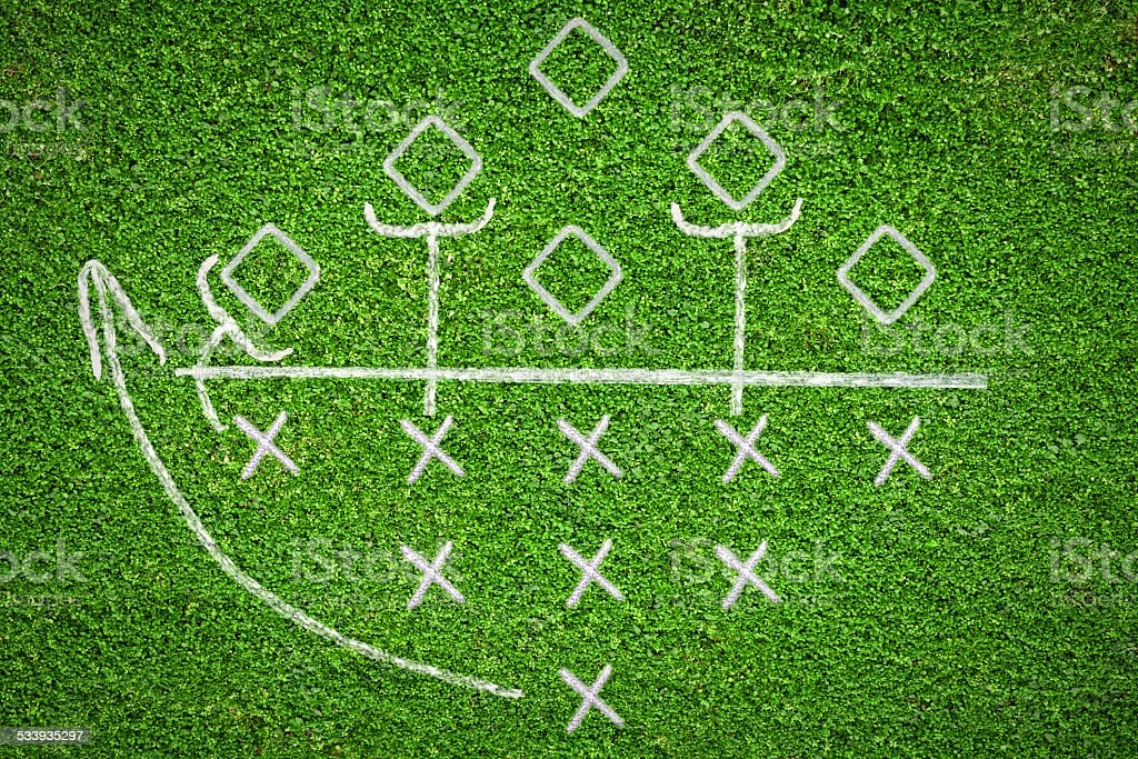 Football game plan on grass background stock photo