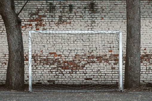 football gates on the sports ground. sports football gates against the background of a brick wall
