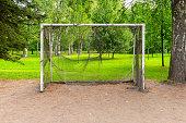 istock Football goal in a green summer park 1268194039