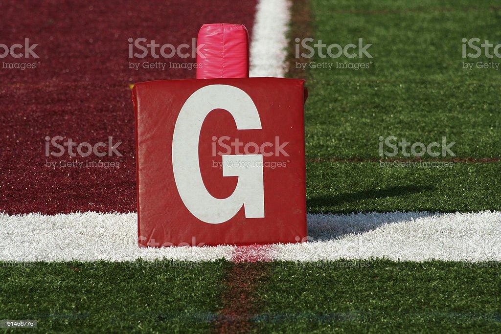 Football goal line yard marker stock photo