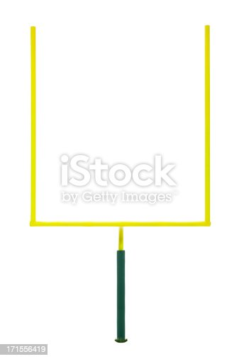 American Football. Front view of Goal Post against a white background