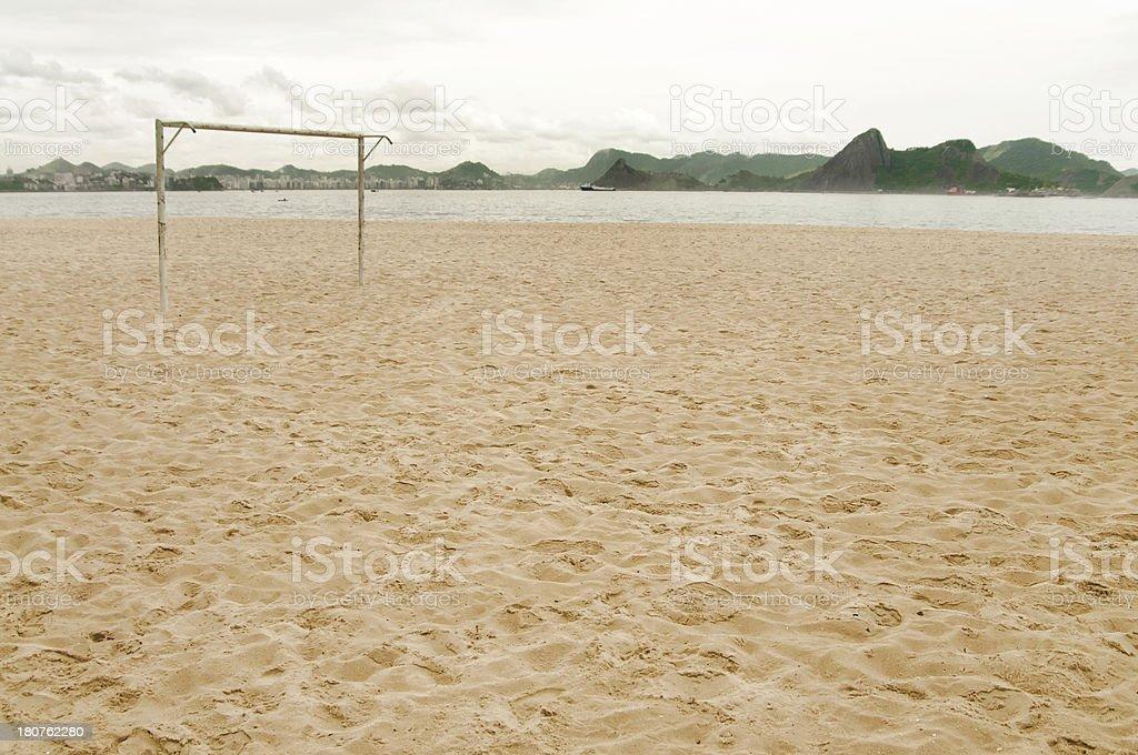 Football Goal ,Praia do Flamengo, Rio De Janeiro, Brazil stock photo