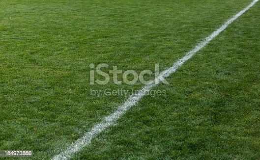 istock Football green grass field 184973886