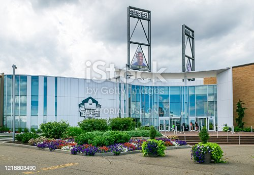 Canton, Ohio / United States - August 12, 2016: Pro Football Hall of Fame under overcast skies in the summer