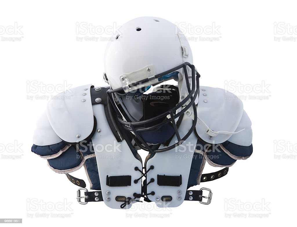 Football Helmet and shoulder Pads stock photo