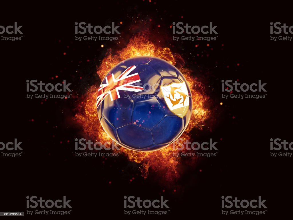 Football in flames with flag of anguilla stock photo