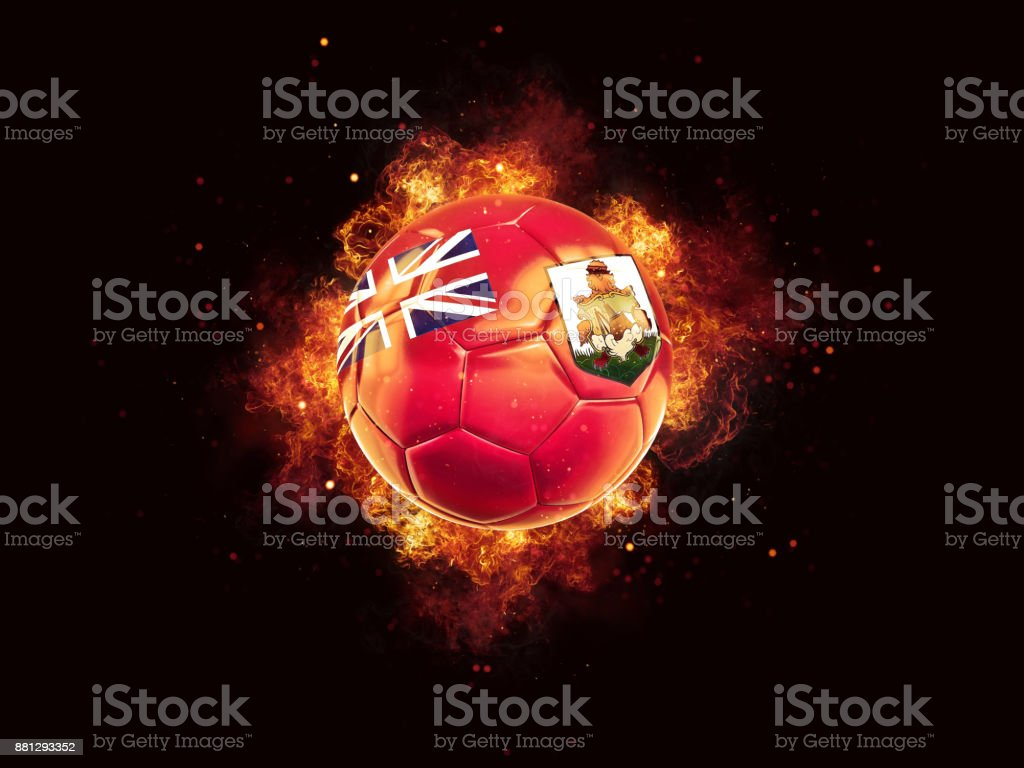 Football in flames with flag of bermuda stock photo
