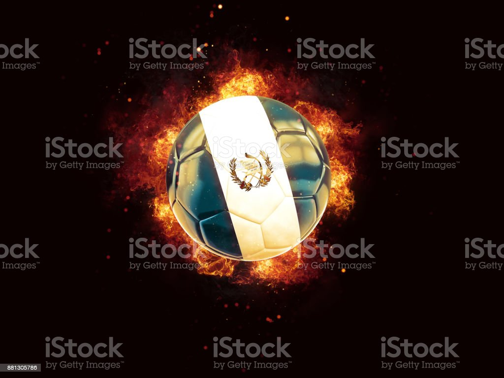 Football in flames with flag of guatemala stock photo