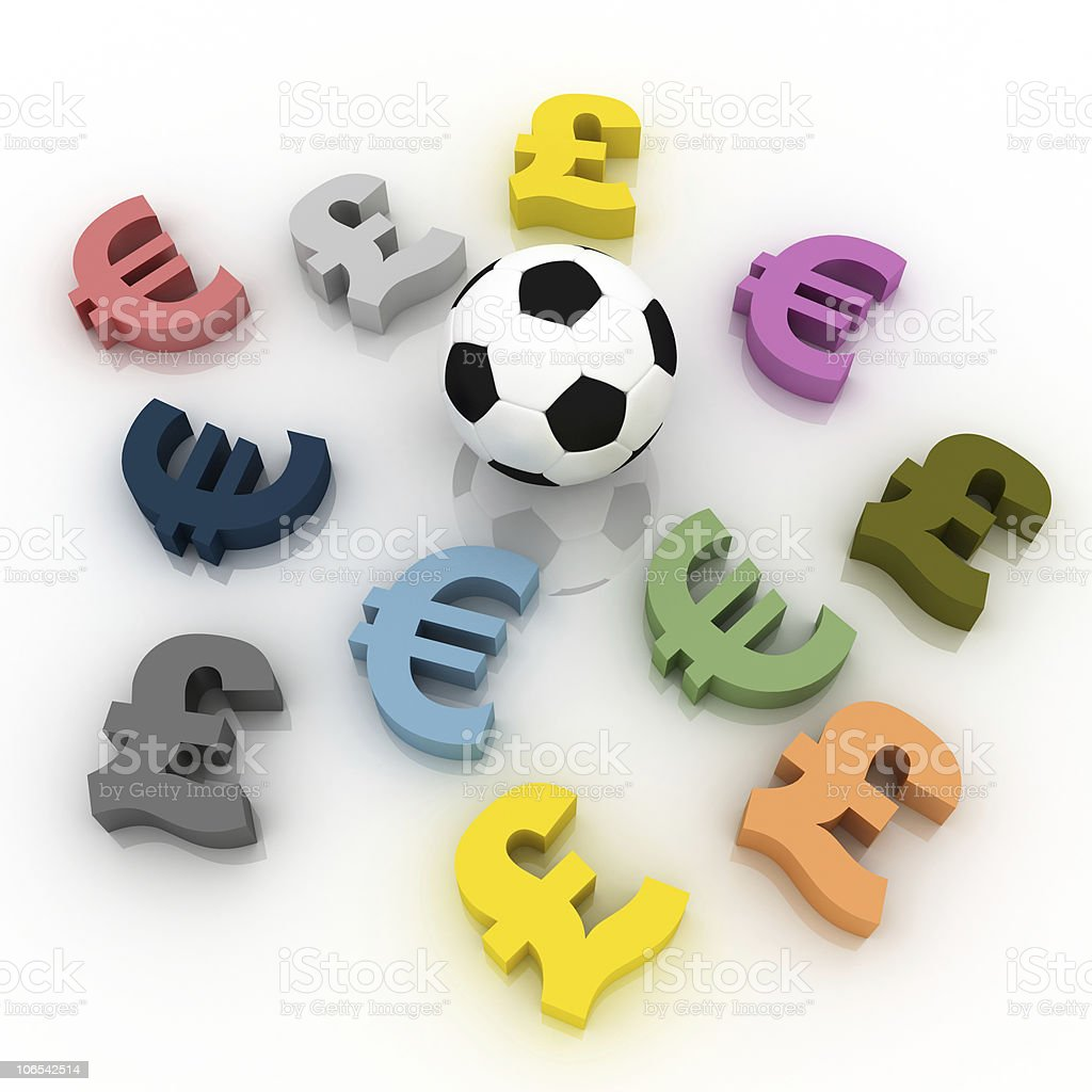 Football is a serious business (Euro and British Pound) royalty-free stock photo