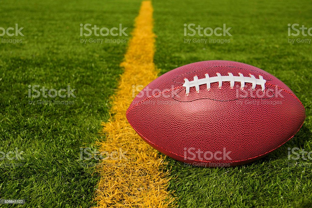 Football Just Over the Goal Line Lower Right stock photo