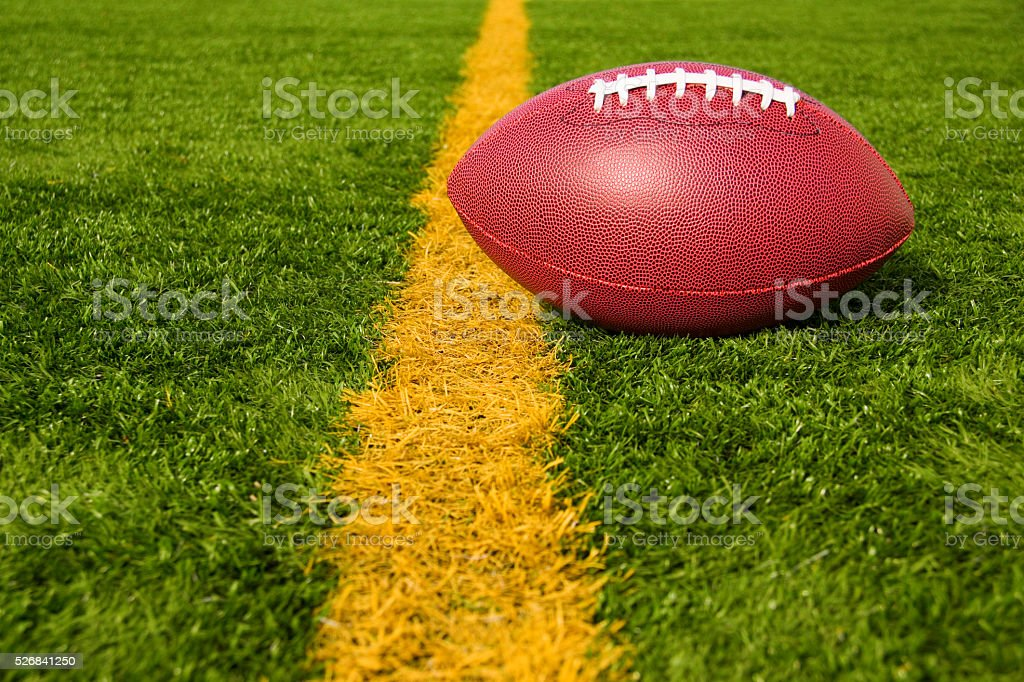 Football Just Over the Goal Line Upper Right stock photo