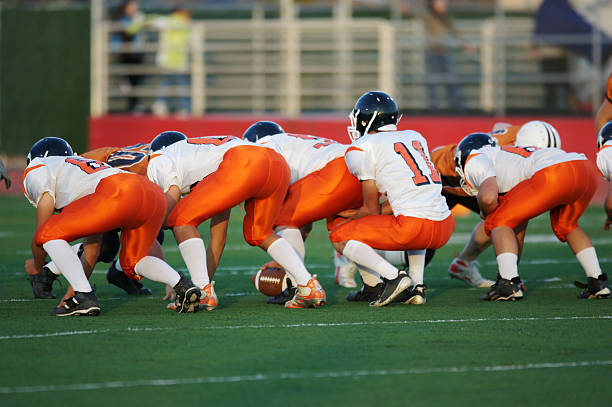 football line stance - high school stock photos and pictures