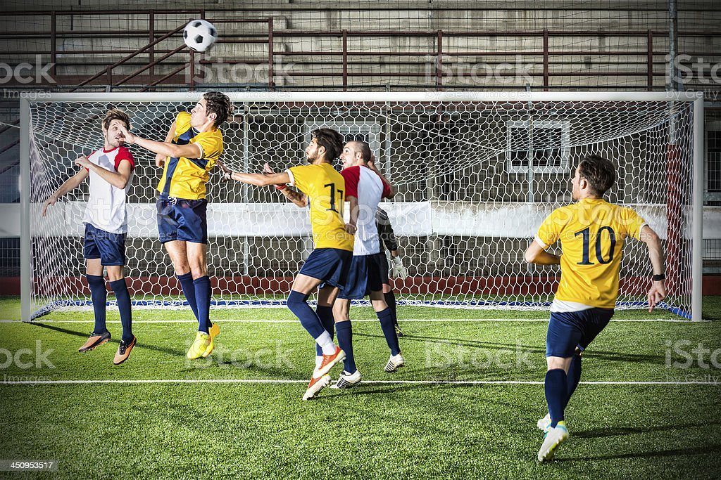 Football match in stadium: Header stock photo
